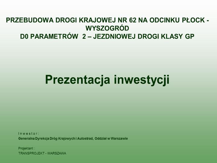 Studium dla DK Płock – Wyszogród