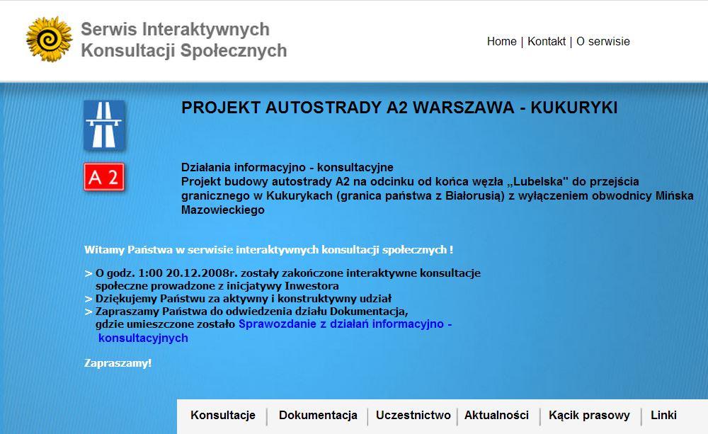 Działania informacyjno-konsultacyjne dot. A2 Warszawa-Kukuryki