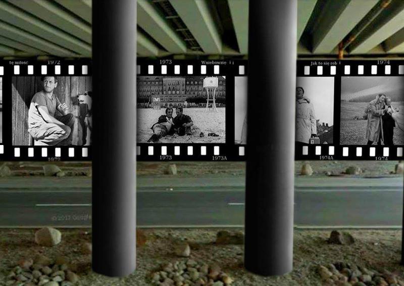 Projekt muralu – Kadry z filmów z Janem Himilsbachem i Zdzisławem Maklakiewiczem