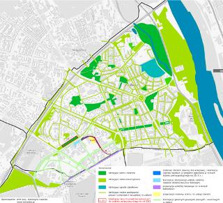Koncepcja układu publicznych zieleńców oraz głównych powiązań pieszych i rowerowych na Żoliborzu Południowym