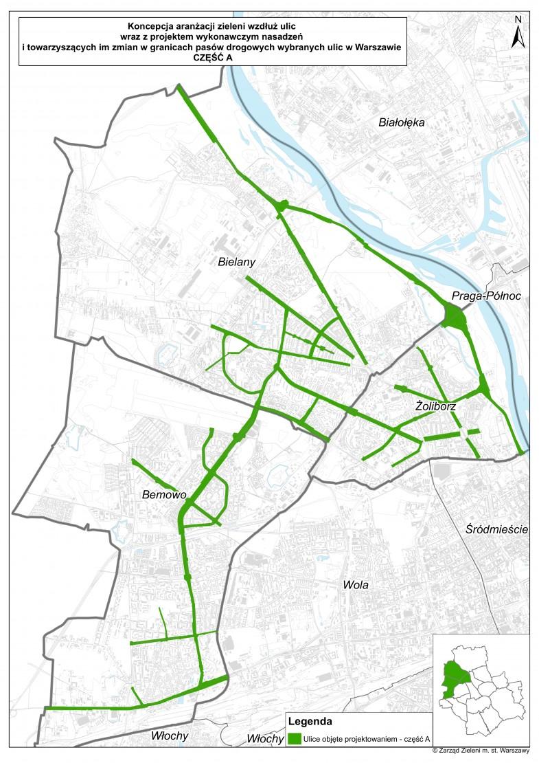 Zazielenianie ulic - etap A - ulice Bemowa, Bielan i Żoliborza