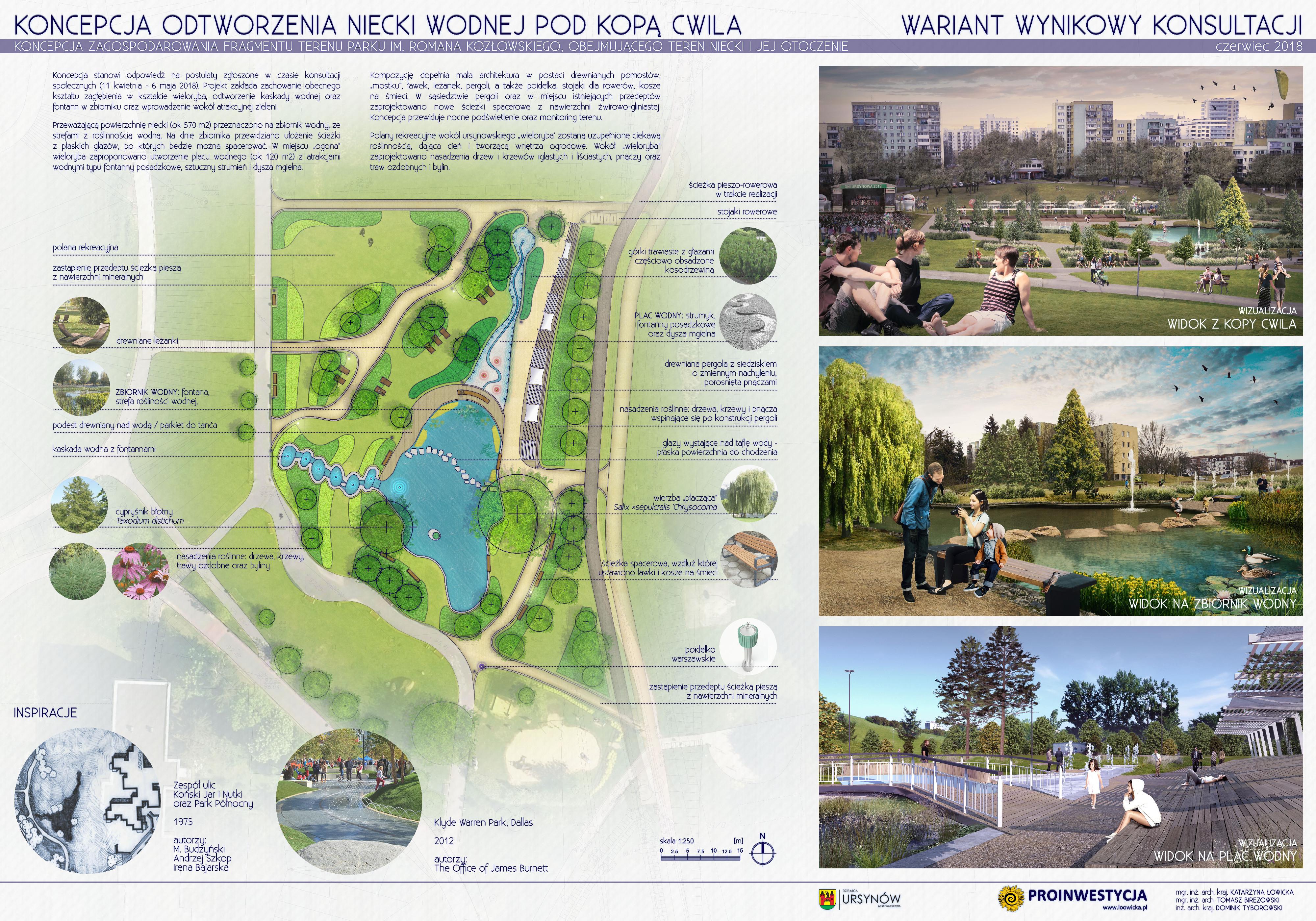 Koncepcja rewitalizacji niecki po fontannie u podnóża Kopy Cwila w Parku im. Romana Kozłowskiego