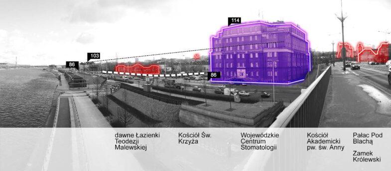 Widok na teren opracowania z Mostu Śląsko-Dąbrowskiego, na wysokości Bulwarów Wiślanych